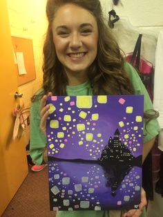 Disney Tangled canvas for graduation gift!