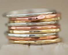 Stacking Skinny Ring Set / 9 Hammered Silver Gold Rose Rings / Delicate Simple - 11 Main