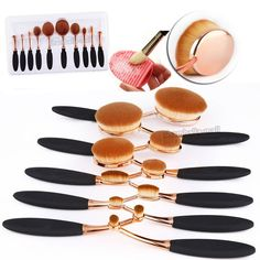 10 X Toothbrush Elite Oval Make up Brushes Set Golden Powder Foundation Contour in Health & Beauty, Make-Up, Make-Up Tools & Accessories | eBay