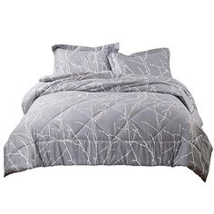 Bedsure 100/% Cotton Duvet Cover Set Full Queen Size Grey//Ivory Reversible Comforter Cover Tree Branch Bedding Sets Bedshe 1 Duvet Cover + 2 Pillow Shams