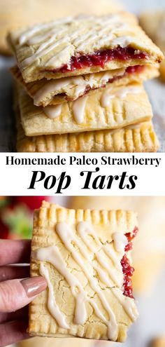 These strawberry homemade pop tarts have passed all the tests! Gooey maple-sweetened strawberry filling in a flaky grain free pastry crust with a dairy free option. Gluten-free, paleo, kid approved, fun to make and freezable! Paleo Dessert, Paleo Sweets, Gluten Free Desserts, Dessert Recipes, Paleo Food, Healthy Treats, Healthy Baking, Paleo Recipes, Real Food Recipes