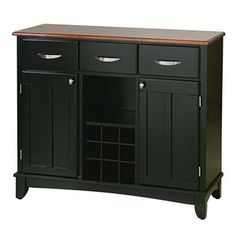 Home Styles Large Black Base and Cottage Oak Top Buffet