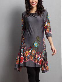 Look what I found on #zulily! Charcoal Garden Sidetail Dress #zulilyfinds