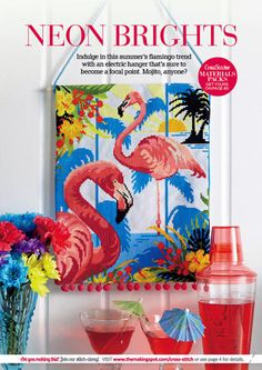 CrossStitcher Magazine issue 255 (out now!) features this amazing neon flamingo pattern by Felicity Hall. Love it!