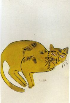 a golden Cat Name Sam | Andy Warhol