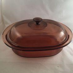 Corning Visions Cookware 4 Qt Amber Pyrex Oval Dutch Oven Roaster Casserole #CorningWare