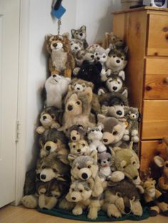 Most of my wolf plushie collection! by ShadoweonCollections on DeviantArt Wolf Plush, Baby Doll Strollers, Wolf Husky, Mcu Marvel, Jellycat, Stuffed Toys Patterns, Plushies, Pugs, Baby Dolls