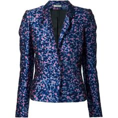 Bouchra Jarrar jacquard blazer ($3,285) ❤ liked on Polyvore featuring outerwear, jackets, blazers, blue, colorful jackets, multi colored jacket, blue jackets, jacquard blazer and multi color jacket