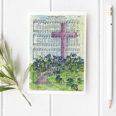 The Old Rugged Cross Hymn Greeting Card Blank Inside Hymn Art, Scripture Art, Bible Art, Book Art, Sheet Music Crafts, Sheet Music Art, Easter Paintings, Christmas Paintings, Music Painting