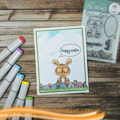 Nerdy Easter Card using Gerda Steiner Designs and Copic Markers