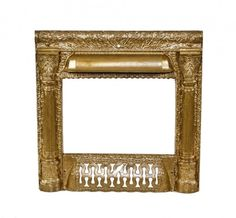 c. 1890's american antique victorian era metallic gold enameled ornamental cast iron interior residential fireplace surround with intact ash grate - Antique Fireplace Mantels & Inserts - Architectural - Products