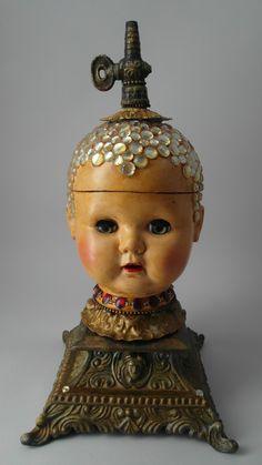 deborahpetronio.weebly.com Found Object Art, Found Art, Steampunk, Instalation Art, Creepy Dolls, Doll Parts, Assemblage Art, Recycled Art, Repurposed