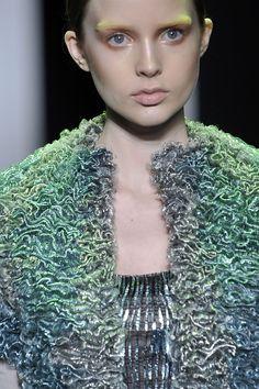Tonal Textures - green tones & dense surface texturing; interesting fashion details // Balenciaga