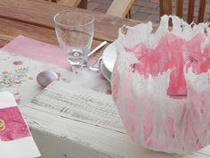 Mulberry mit Strohseide Vase oder Windlicht