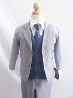 Formal Boy Suit Gray with Blue Navy Vest for Toddler Baby Ring Bearer Easter Communion Long Tie Size and Navy Blue Vest, Blue Vests, Grey Pants, Gray Jacket, Ring Bearer Suit, Wedding Suits, Wedding Attire, Wedding Navy, Wedding Bells