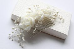 Wedding Headpieces, Ivory Rose Hairpiece, Bridal Hair Comb, Flower Hair Comb, Pearl Hairpiece, Roses with Pearls, Pearl Weddings, Hair Roses