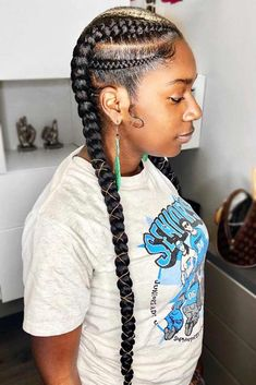 Cute Double Ghana Braids #braids #naturalhair ❤️ Whatever black braided hairstyles African Americans show up with always look amazing! Want to be on point too? Dive in our gallery: Senegalese twists, cornrows, simple braided updos, and lots of protective styles for women are here! ❤️ #lovehairstyles #hair #hairstyles #haircuts #easybraids