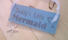 Daddy's Little Mermaid Sign Nursery Sign Blue by BeachandBungalow