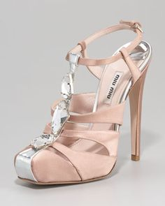 Bejeweled T-Strap Satin Sandal by Miu Miu at Neiman Marcus.