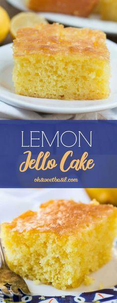 Lemon Jello Cake, Jello Cake Recipes, Jello Desserts, Lemon Dessert Recipes, Kid Desserts, Cake Mix Recipes, Lemon Recipes, Easter Recipes, Lemon Cupcakes
