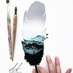 Ideas for painting landscape watercolor inspiration Cool Art Drawings, Art Drawings Sketches, Animal Drawings, Sketchbook Inspiration, Art Sketchbook, Artist Painting, Painting & Drawing, Silhouette Painting, Watercolor Artwork