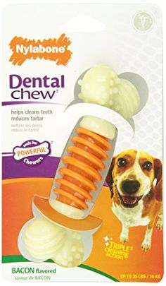 Nylabone Dental Chew Medium Bacon flavored Pro Action Bone Dog Chew Toy - http://weloveourpugs.net/?product=nylabone-dental-chew-medium-bacon-flavored-pro-action-bone-dog-chew-toy