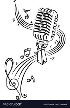 Retro microphone with music notes and clef. © Christine Krahl - Clef, microphone, music notes, t shirt, tee Microphone Drawing, Microphone Tattoo, Music Tattoo Designs, Music Tattoos, Osiris Tattoo, Music Notes Art, Music Music, Music Doodle, Silkscreen