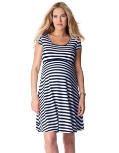 Cut Out Nautical Maternity Dress Front