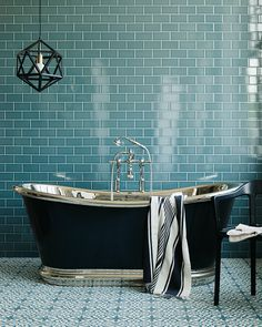 We chose the fantastically priced Metro Deco wall tiles for this shoot, alongside the equally good value cement Old Havana tiles for the… Metro Tiles Bathroom, Bathroom Floor Tiles, Wall And Floor Tiles, Tiled Bathrooms, Black Bathrooms, Flooring Tiles, Bad Inspiration, Bathroom Inspiration, Turquoise Bathroom