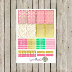 These Summer Planner Stickers with Pink and Gold Pineapples is the perfect addition to your planner this summer! With 8 full box stickers, 2
