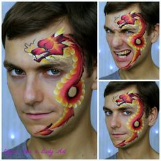 One stroke dragon face paint — one of the most popular face painting designs for boys. Learn how to face paint this Chinese dragon on my YouTube Channel: International Face Painting School And it is actually is double tutorial, including this red dragon demo as well #howtofacepaint