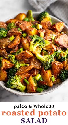 """Paleo potato salad with broccoli and bacon and a lightly dressing with a spicy and """"cheesy"""" mayo. Perfect for potlucks, meal prep, or BBQs! - Eat the Gains Potluck Recipes, Side Dish Recipes, Easy Dinner Recipes, Easy Dinners, Dairy Free Recipes, Paleo Recipes, Real Food Recipes, Yummy Recipes, Gluten Free"""