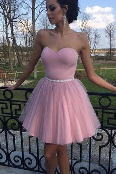 A Line Sweetheart Cute Dress Beads Short Prom Homecoming Dresses Party Gowns LD492