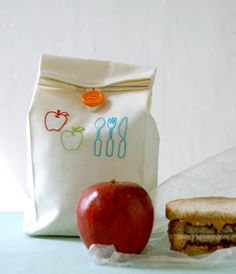 DIY embroidered lunch bag tutorial at the Purl Bee.
