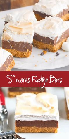 S'mores Fudge Bars - Graham cracker crust, fudgy center and marshmallow topping! S'mores Fudge Bars - Graham cracker crust, fudgy center and marshmallow topping! Smores Dessert, Dessert Bars, Smores Cake, Dessert Dishes, Dessert Simple, Köstliche Desserts, Summer Desserts, Carmel Desserts Easy, Fast And Easy Desserts