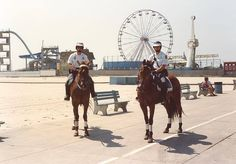 In honor of this BEAUTIFUL Ocean City beach day, here is a #ThrowbackThursday photo of two Mounted Officers taken 25 years ago in 1989 on the boardwalk. The pier looked much different back then but 25 years later it's still a great day for a ride on the Ferris Wheel!
