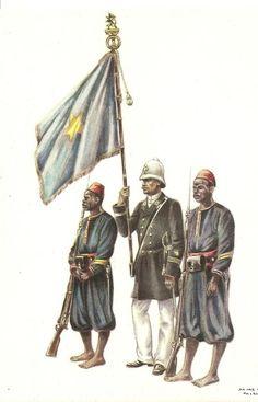 Belgian Congo Colour Party Escorte drapeau Force publique 1890