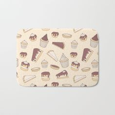 The perfect Bath Mats: fuzzy, foamy and finely enhanced with brilliant art. Featuring a soft, quick-dry microfiber surface, memory foam cushion and skid-proof backing. Pattern with chocolate cupcakes, cheesecakes, cakes, tarts, pies and eclairs. #pastry #dessert #muffin #cupcake #cake #cute #pattern #cheesecake #pie #cream #sugar #girlish #sweets #treats #tart #chocolate #art #illustration #shopping #buyonline #society6 #home #decor #decoration #bathroom