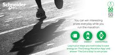 You can win interesting prizes everyday while you run the marathon. All you have to do is log in your steps you took today to save energy on The #EnergyMarathon App and answer The Extra Step. https://www.facebook.com/SchneiderElectricIN/app_347740821992062