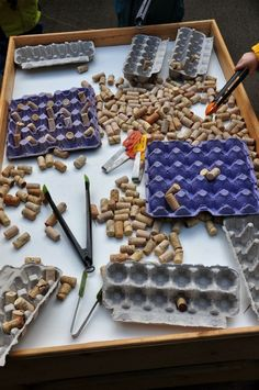 have lots of both already! Egg cartons and corks for loose parts play.I have lots of both already! Egg cartons and corks for loose parts play. Motor Skills Activities, Fine Motor Skills, Preschool Activities, Nursery Activities, Preschool Centers, Reggio Inspired Classrooms, Reggio Classroom, Reggio Emilia Preschool, Infant Classroom