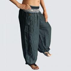 Dark Gray Oriental Decorated Harem Pants - Yoga Pants - Model P60 - Oriental Fashion #http://www.pinterest.com/OGfashion/