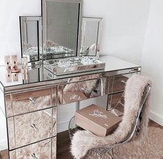 pink + silver beauty desk