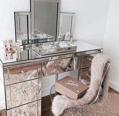 pink + silver beauty desk