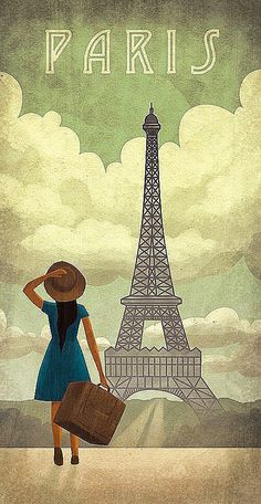 Paris, France  • Vintage Travel Poster