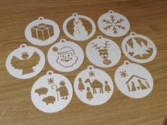 Instant Downloadable make paper cut out card template Christmas festive nativity baubles cutting files for Silhouette by Omorfos on Etsy