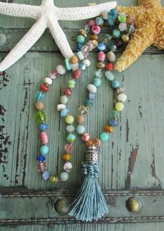 Colorful knotted tassel necklace BeachComber multi by slashKnots
