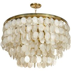 View this item and discover similar chandeliers and pendants for sale at - A vintage chandelier comprised of a brass frame with six concentric circles descending in size to form three tiers, each circular frame has dangling links Capiz Shell Chandelier, Vintage Chandelier, Modern Chandelier, Chandelier Lighting, Pendant Lamp, Closet Chandelier, Shell Lamp, Ceiling Lamp, Ceiling Lights
