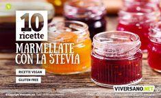 L'uso della stevia permette di preparare gustose marmellate senza zucchero. Ecco 10 ricette per fare marmellate senza zucchero con diversi tipi di frutta. Stevia, Chutney, Salsa, Jar, Desserts, Food, Pastries, Cakes, Fitness