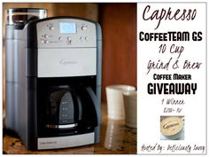 Ogitchida Kwe's Book Blog : Capresso CoffeeTEAM GS 10 Cup Grind & Brew Special...
