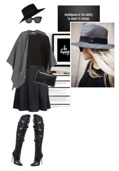 A fashion look from April 2015 featuring silk top, gray cape and box pleat skirt. Browse and shop related looks. Oliver Peoples, Sweater Cardigan, Winter Outfits, What To Wear, Cardigans, Sweaters, Chic, My Style, River Island